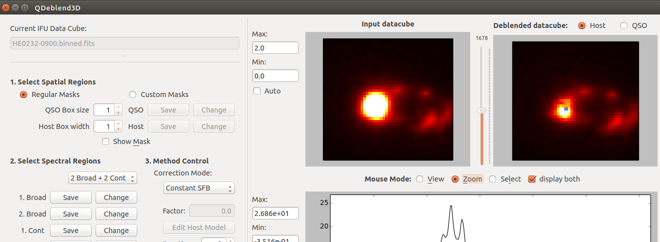 Graphical interface and algorithm to deblend AGN and host galaxy emission in integral field spectroscopy data.
